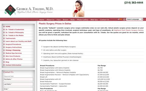 Screenshot of Pricing Page toledoplasticsurgery.com - Plastic Surgery Pricing Dallas, TX - Cosmetic Surgery Costs | Highland Park Plastic Surgery Center - captured Sept. 28, 2018