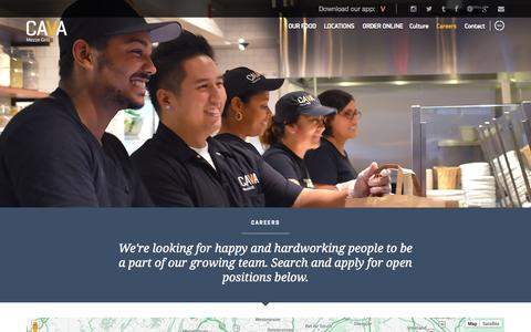 Screenshot of Jobs Page cavagrill.com - Careers | Cava Grill - captured Oct. 28, 2014