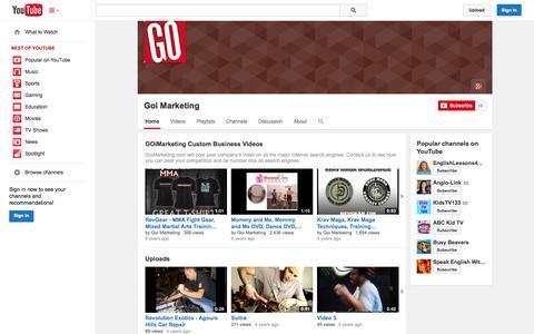 Screenshot of YouTube Page youtube.com - Goi Marketing  - YouTube - captured Oct. 22, 2014