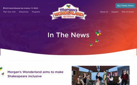 Screenshot of Press Page morganswonderland.com - In The News - Morgan's Wonderland - captured Dec. 12, 2018