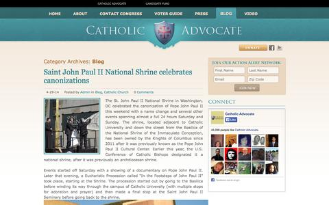 Screenshot of Blog catholicadvocate.com - Blog | Catholic Advocate - captured Sept. 29, 2014