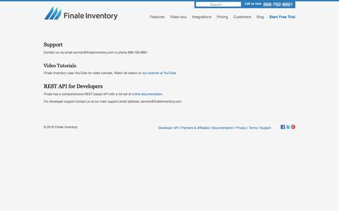 Screenshot of Support Page finaleinventory.com - Finale Inventory - Support - captured July 28, 2017