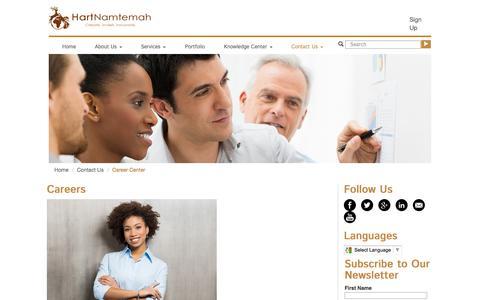 Screenshot of Jobs Page hartnamtemah.com - Careers in Africa - Find careers in business consulting - HartNamtemah.com - captured Sept. 29, 2014
