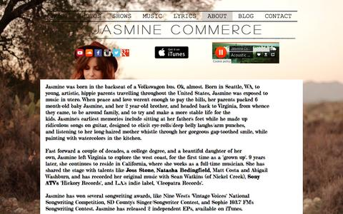 Screenshot of About Page jasminecommercemusic.com - Jasmine Commerce Music- About - captured Feb. 28, 2017