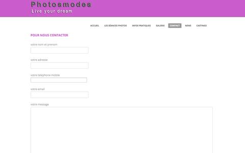 Screenshot of Contact Page photosmodes.com - Pour nous contacter - captured Oct. 31, 2014