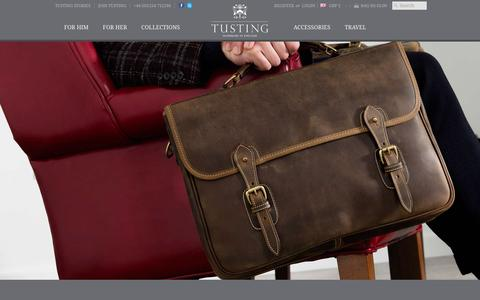Screenshot of Home Page tusting.co.uk - TUSTING | Luxury Leather Briefcases Luggage & Handbags - captured Feb. 17, 2016