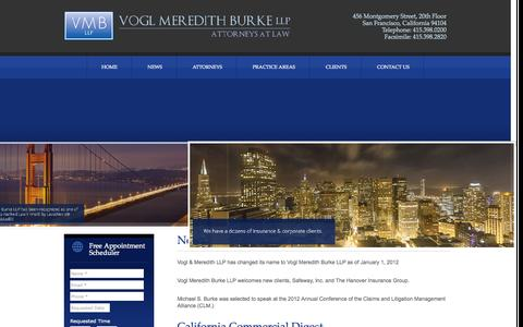 Screenshot of Press Page vmbllp.com - News | Call Now 415.398.0200 | Vogl Meredith Burke LLP: Attorneys at law - captured Oct. 7, 2014