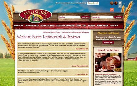 Screenshot of Testimonials Page wellshirefarms.com - Healthy Eating Feedback and Tips | Wellshire Farms - captured Oct. 7, 2014