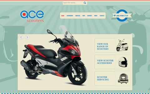 Screenshot of Home Page acescooters.com.au - Scooters For Sale in Perth – Huge Range Of Scooters - Ace Scooters - captured Sept. 30, 2014
