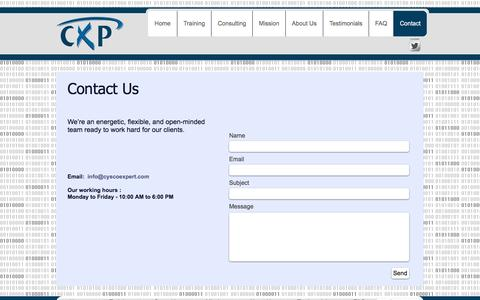 Screenshot of Contact Page cyscoexpert.com - CXP: Contact Us! - captured May 24, 2017