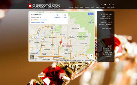 Screenshot of Maps & Directions Page asecondlook.com - A SECOND LOOK | Map - captured Oct. 2, 2014