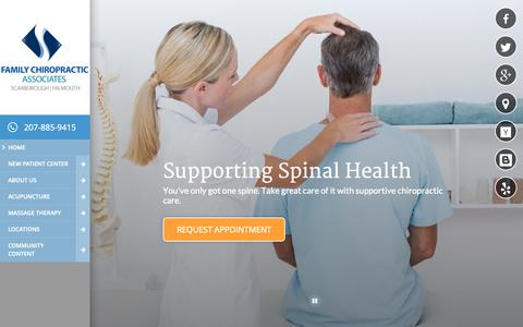 Screenshot of Home Page scarboroughfamilychiro.com - Family Chiropractic Associates - Chiropractors in Scarborough and Falmouth, ME - captured Oct. 2, 2018