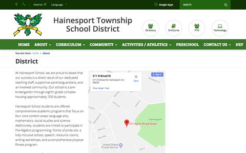 Screenshot of About Page hainesport.k12.nj.us - Hainesport Township School - About - captured May 8, 2018