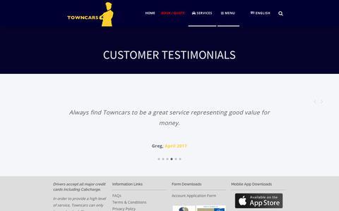 Screenshot of Services Page Menu Page towncarsaust.com.au - Customer Testimonials - Towncars - captured Nov. 8, 2017