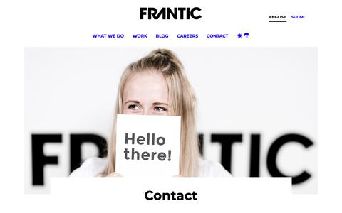 Screenshot of Contact Page frantic.com - Contact | Frantic - captured May 20, 2019