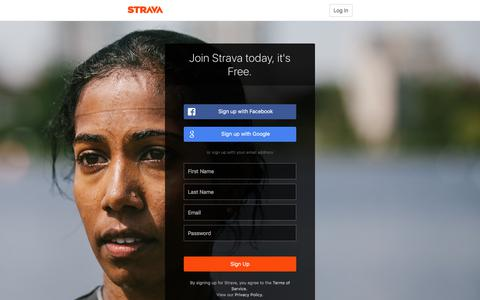 Screenshot of Signup Page strava.com - Create an Account for Cycling and Running Training Log and GPS Bike Routes | Strava Register - captured Feb. 24, 2018