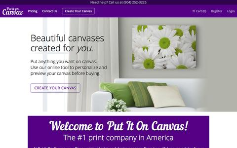 Screenshot of Home Page putitoncanvas.com - Print Services - Canvas, Backdrops, Banners, and More! - Put It On Canvas - captured Oct. 3, 2014