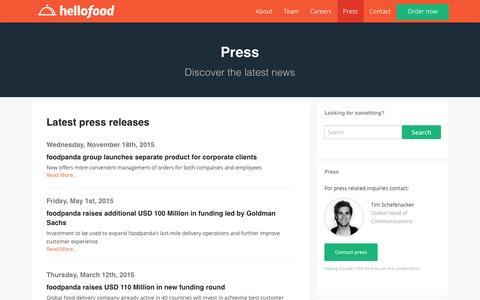 Screenshot of Press Page hellofood.com - Press | Food Delivery | Order Food Online | hellofood - captured Dec. 18, 2015