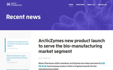 Screenshot of Press Page biotec.no - Recent News from Biotec Pharmacon - captured Oct. 10, 2017