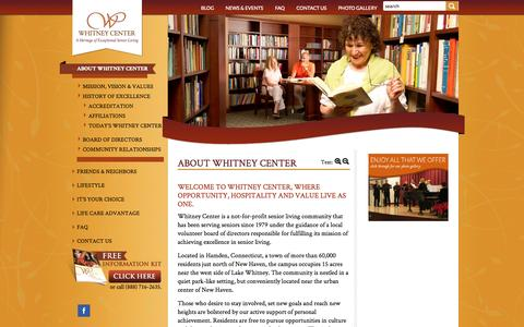 Screenshot of About Page whitneycenter.com - About Whitney Center - Whitney Center - captured Oct. 31, 2014