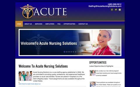Screenshot of Home Page acutenursingsolutions.com - Acute Nursing Solutions - captured Nov. 20, 2016