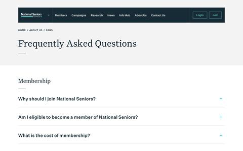Screenshot of FAQ Page nationalseniors.com.au - Frequently Asked Questions - National Seniors - captured Oct. 18, 2018