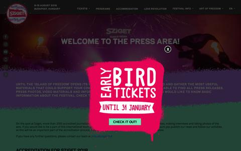 Screenshot of Press Page szigetfestival.com - Press  – Sziget Festival - The Island of Freedom - 8-15 Aug - captured Jan. 25, 2018