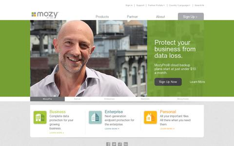 Screenshot of Home Page mozy.com - Online Backup, Cloud backup, and Data Backup Solutions | Mozy - Mozy - captured July 11, 2014