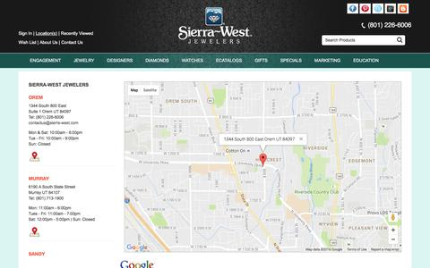 Screenshot of Locations Page sierra-west.com - Sierra-West Jewelers: Map Us through Google Maps, Yahoo Maps, MapQuest Maps & Directions - captured Dec. 2, 2016