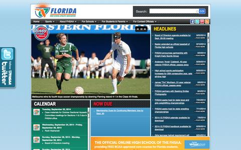 Screenshot of Home Page fhsaa.org - FHSAA.org | Florida High School Athletic Association - captured Sept. 23, 2014