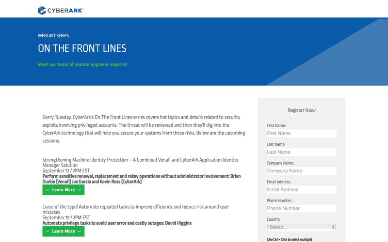 CyberArk On The Front Lines Webcast Series