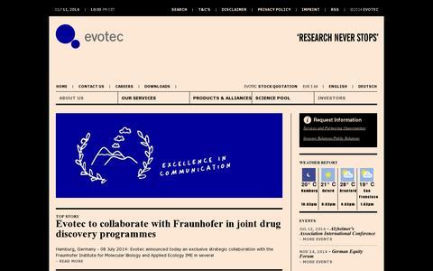 Screenshot of Home Page evotec.com - Evotec - Creating integrated drug discovery innovation alliances - captured July 11, 2014
