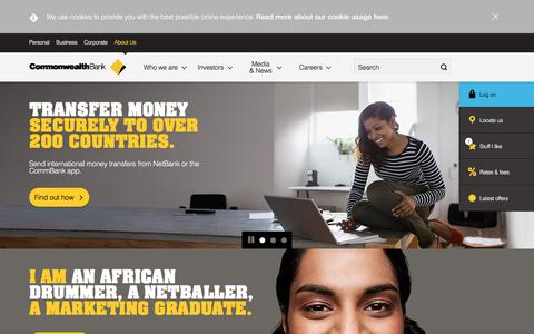 Screenshot of About Page commbank.com.au - About Us - Learn more about Shareholders, Careers - CommBank - captured April 14, 2016
