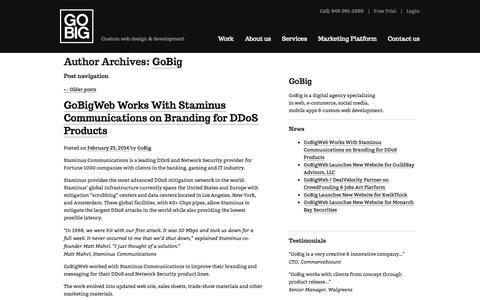 Screenshot of Blog gobigweb.com - Posts by GoBig   GoBig - captured Sept. 26, 2014