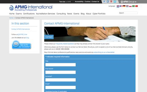 Screenshot of Contact Page apmg-international.com - Contact APMG-International | APMG-International - captured March 4, 2016