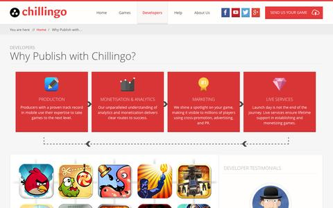 Screenshot of Developers Page chillingo.com - Chillingo | Leading games publisher on mobile. A division of Electronic Arts. | Why Publish with Chillingo? - captured Sept. 24, 2014