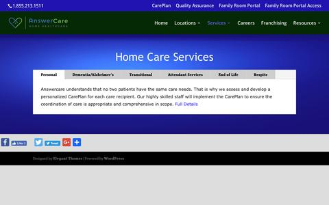 Screenshot of Services Page answercare.org - Home Care Services for Seniors | AnswerCare - captured May 30, 2017