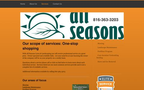 Screenshot of Services Page allseasonsll.com - All Seasons Lawn and Landscaping - Services - captured Oct. 3, 2018