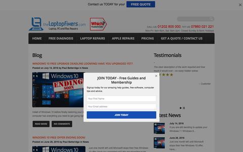 Screenshot of Blog thelaptopfixers.com - Laptop Repair Bournemouth, Laptop Repair Poole | Free Diagnostics, No Fix, No Fee, Fixed Priced Repairs - captured Aug. 15, 2016