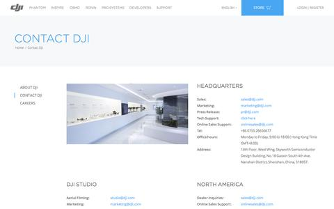 Screenshot of Contact Page dji.com - DJI - The World Leader in Camera Drones/Quadcopters for Aerial Photography - captured Nov. 25, 2015