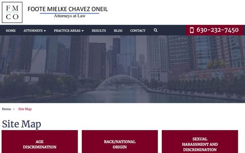 Screenshot of Site Map Page fmcolaw.com - Site Map | Foote, Mielke, Chavez & O'Neil, LLC | Geneva, Illinois - captured Sept. 25, 2018
