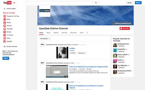 Screenshot of YouTube Page youtube.com - CyanGate S-Drive Channel  - YouTube - captured Oct. 23, 2014