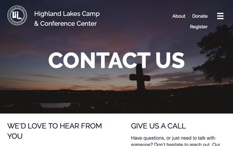 Screenshot of Contact Page hlccc.org - Contact - Highland Lakes Camp and Conference Center - captured Oct. 21, 2018