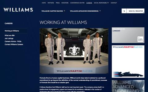 Screenshot of Jobs Page williamsf1.com - Working at Williams - captured Sept. 25, 2014