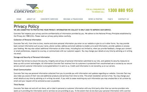 Screenshot of Privacy Page concretetaxi.com - Privacy Policy - Concrete TaxiConcrete Taxi - captured Nov. 10, 2016