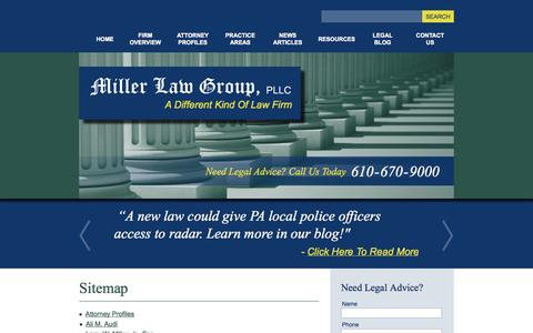 Screenshot of Site Map Page millerlawgroup.net - Sitemap - Miller Law Group, PLLC - captured Oct. 27, 2014