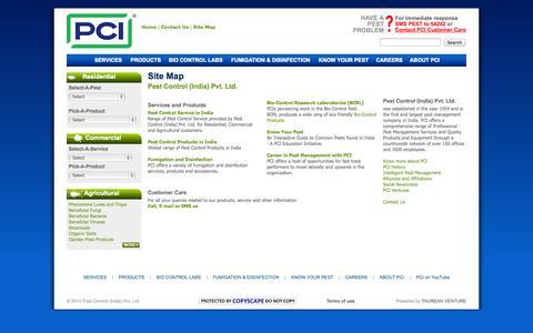 Screenshot of Site Map Page pestcontrolindia.com - Site Map - PESTCONTROLINDIA.COM - captured Sept. 24, 2014