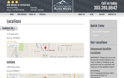 Screenshot of Locations Page coloradoautobody.com - Locations - Colorado Auto Body - captured July 9, 2016