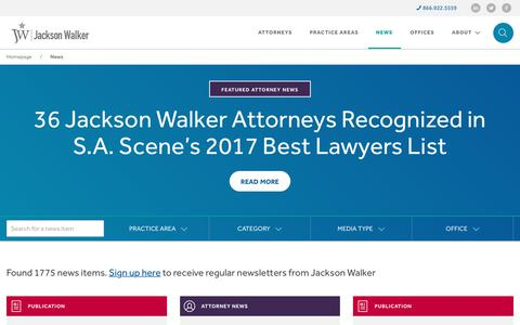 Screenshot of Press Page jw.com - News - Jackson Walker - captured July 7, 2017
