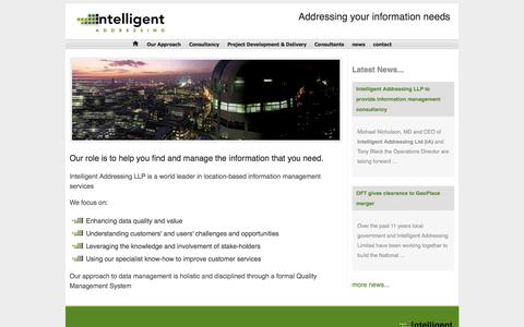 Screenshot of Home Page intelligent-addressing.co.uk - Intelligent-Addressing UK - Intelligently Addressing your Information Needs - captured Oct. 6, 2014